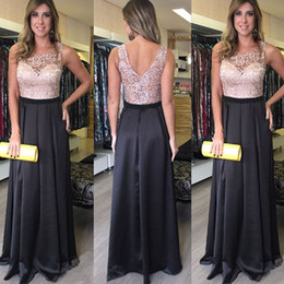 long bridesmaid dresses sheer back NZ - Long Formal A-line Wedding Guest Dress Sheer Scoop Neck Sleeveless Lace Top Sheer Open Back Two Colors Bridesmaid Dresses Custom Made Cheap