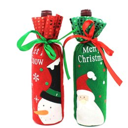 $enCountryForm.capitalKeyWord UK - 1Pcs Santa Claus Snowman Design Wine Bottle Cover Red Wine Gift Bags Pretty Christmas Decoration Supplies Xmas Home Ornaments