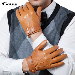 winter man genuine leather gloves NZ - Gours Winter Genuine Leather Gloves Men New Brand Goatskin Black Fashion Driving Touch Screen Gloves Goatskin Mittens GSM036 D18110705