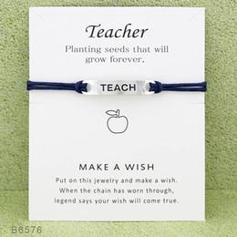 $enCountryForm.capitalKeyWord Australia - New Wish Teacher Charm bracelets with Card women Luxury designer Infinity Wristband Bangle For Girls Fashion Jewelry Gift
