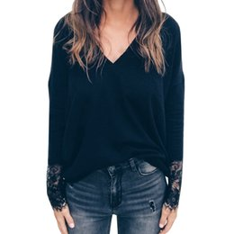 Wholesale blouse cut out sleeves for sale – plus size Laser Cut Insert Guipure Lace Cuff Blouse Solid V Neck Long Sleeve Cut Out Tops Women Autumn Elegant Workwear Shirt