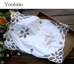 Kitchen Place Mats Australia - Modern lace embroidery place table mat cloth pad cup mug holder drink doily coaster Christmas dining placemat kitchen tableware