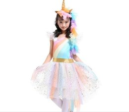 China 30pcs Girls Rainbow Dress with Unicorn Headband + Angel Wings Lace Tutu Girls Princess Dress Suits Cosplay Clothing Sets Y256 supplier rainbow clothes suppliers