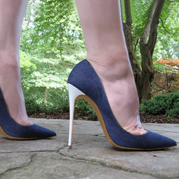 979dd99414181 wholesale 2018 Newest Denim Blue High Heel Shoes for Woman Sexy Pointed Toe  Thin Heels Pumps 12CM heel Stiletto Heels