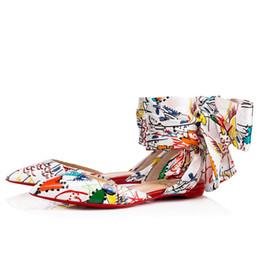 $enCountryForm.capitalKeyWord Canada - Perfect Lahore Flat Sexy Pointed Toe Graffiti Leather High Quality Red Bottom Ladies Ankle T-straps Women Luxury Ballerines Shoes EU35-42