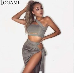Wholesale LOGAMI Piece Set Women Skirt Top Sexy Two Piece Set Skirt And Top For Summer Party Club Wear Split Clothing Conjunto Feminino