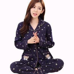 2PCS Sets Women Sleepwear Spring Autumn Knitd Cotton Navy Pyjama Suit Plus  Size Nightwear Pajama Set Ladies Fashion Homewear c1d51a618