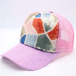 2018 Women Ladies Girls Sequins Baseball Cap Ponytail Pink Black Shiny  Snapback Hat Sun Caps 629101678c4b