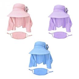 $enCountryForm.capitalKeyWord UK - Outdoor Caps   Hiking Caps Summer Sun Hat Women Foldable Flower Cap Climbing UV Protection Large Brim Sun Hat with Face Mask