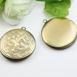 $enCountryForm.capitalKeyWord NZ - 10pcs 31*6MM Antique bronze color bird round photo locket pendant charms jewelry, diy metal fashion picture frame pendants wish box copper