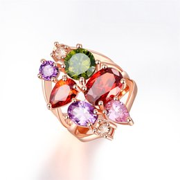 Rose Gold Cluster Engagement Rings Australia - Luxury Colorful Rose Gold Color Wedding Engagement Ring for women Zircon Stone Hollow Band Classic Rings Body Jewelry