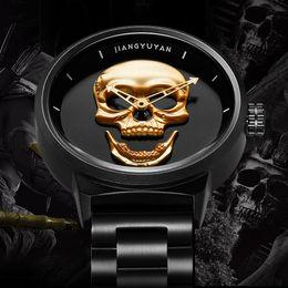 skull pirate watch 2018 - Hot Dropship Unique SKONE Pirate Skeleton Skull Quartz Men Watches Luxury Waterproof Leather Men Sports Watch Relogio Ma
