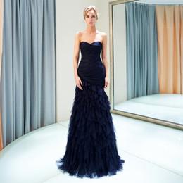 Floor art carpet online shopping - Sweetheart Navy Blue Ruffle Evening Gown Tiered Pick ups Free Ship Prom Dresses Formal Party Dress Zipper Back Floor Length