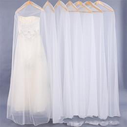 Dust bag Dresses online shopping - Encryption Curettage Net Yarn Wedding Dress Dust Cover Durable Full Dresses Storage Bag Lengthen Transparent Bags km gg