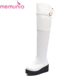 b7bc88c7b170 MEMUNIA 2018 new arrival knee high boots white black round toe wedges boots  buckle solid pu leather long womens size 34-44