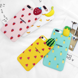 Discount banana phone cover - 3D Pineapple Phone Case For iPhone 7 7 Plus Soft TPU Cartoon Banana Strawberry Back Cover Cases For iPhone 8 7 6 6S Plus