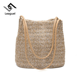 Woven Tote Bags Wholesale NZ - Leaguel 2018 New Straw Weave Shoulder Bag Casual Handbags for Ladies Summer Holiday Bucket Beach Shoulder Pack Tote bag shopper