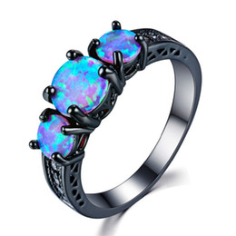 Wholesale Exquisite Round Three Stone Rings Blue Fire Opal Fashion Ring Black Gold Filled Wedding Rings For Women Vintage Jewelry AB1493