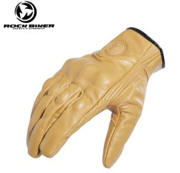 Wholesale New ROCK BIKER retro full finger motorcycle gloves leather summer men riding motorcycle protection equipment off road