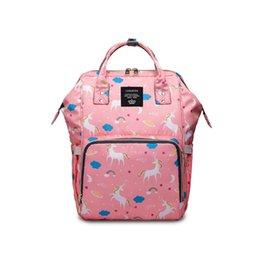 Мода Мама Выход Рюкзак Единорог Шаблон Печати Сплошной Цвет Водонепроницаемый Мешок Младенца Большой Емкости Молнии Рюкзак