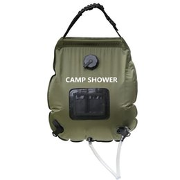 Thermometer Hiking UK - Portable 20L Army green Folding Water Shower Bag Outdoor Camping Hiking Self Driving Tour Solar Heating with Thermometer