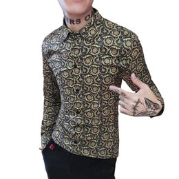 da68be7f35 Mens Gold Shirts Mens Luxury Camisa Slim Fit Baroque Floral Shirts Long  Sleeve Fancy Printed Fashion Man Social Club