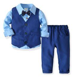 2084ec28266 2018 kids clothes Boys long sleeve shirt double vest trousers gentleman bow  tie suit children s baby birthday party dress