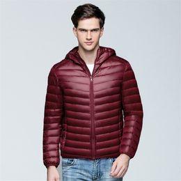 Thin Down Light NZ - Autumn Winter Fashion Men Hooded Down Coat New Ultra Light White Duck Down Jacket Parkas Male Plus Size Thin Short OutwearAB641