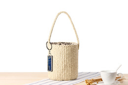 PaPer woven bags online shopping - Anti Lost Hand Bucket Bucket Straw Bag Handmade Paper Rope Woven Beach Bag Simple Casual Handbag