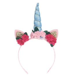 Flower Girl Hoop Hair Bands UK - New Birthday Party Baby Hoop Hair Band Infant Flower Toddler Bow Headband Girls Party Accessories Unicorn Headwear