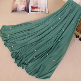 cotton scarves stoles Australia - Woman Maxi Plain Pearl Beads Jersey Hijab Scarf Polyester Cotton Shawl Snood Muslim Sjaal Head Wrap Solid Foulard Stole 180*80Cm
