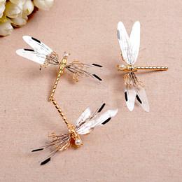 $enCountryForm.capitalKeyWord Australia - 3 PCS Baroque Golden Dragonfly Hairpins Bridal Headdress Wedding Hair Accessories Transparent Wings, Golden Dragonfly Hair Clip