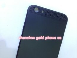 Golden Housing Australia - 2018 real 24K gold black partial DIAMOND crystal Plating Battery Back Housing Cover Skin for iPhone 6 24kt Limited golden crystal with deep