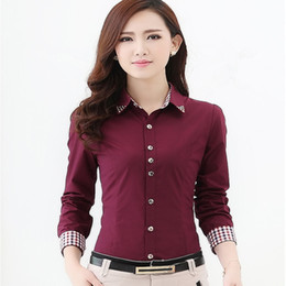 Wholesale korean women formal shirts for sale – plus size Europe Russia spring autumn women Career wear Office blouse tops Shirt Long Sleeve red white Korean lady Slim Cotton Blend Formal Workwear