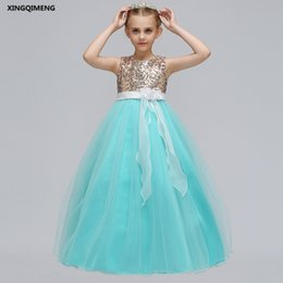 $enCountryForm.capitalKeyWord UK - In Stock Mint Sequined Flower Girl Dress for Weddings 5-14Y Orange Pageant Dresses for Girls Violet Cheap Tulle Ball Gown Kids