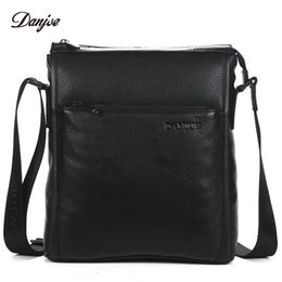 DANJUE Men Bag Genuine Leather Messenger Bag Male Vertical Black Business  Crossbody Classic Zipper Casual Shoulder Man 99229dccdb82b