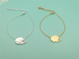 Discount cute small gold pendant - small hedgehog bracelet cute little animal mouse bracelet simple cartoon pet hedgehog pendant bracelet girl birthday gif