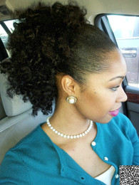 curly ponytails for black women Canada - short high ponytail 120g afro curly curly drawstring ponytail for black women, puff curly multi color Indian virgin hair extension 14inch