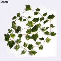 Ivy plastIc online shopping - Luyue Artificial Silk Grape Leaves Hanging Garland Faux Vine Ivy Wreaths Indoor Outdoor Green Leaves Garden Wedding Home Decor
