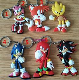 $enCountryForm.capitalKeyWord NZ - 20 pcs lot Anime Super Sonic The Hedgehog Figures Toys Cartoon Sonic Soft Rubber Keychain Key Bag Pendants Dolls
