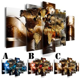 $enCountryForm.capitalKeyWord NZ - No Frame Wall Art Picture Printed Canvas Oil Painting 5pcs set Home Decor Extra Mirror Border Golden World Map