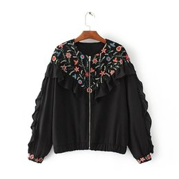 Floral Ruffle Jacket UK - Spring Autumn Winter Women Zipper Basic Embroidery Jacket Black Collarless Ruffles Embroidered Yoke and Cuff Bomber Jacket