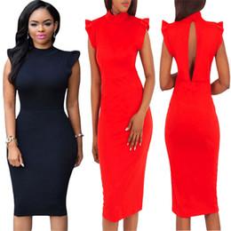 $enCountryForm.capitalKeyWord Canada - 2018 New Sheath Dresses Sleeveless Cutton High Neck Sexy Repair The Body Package buttocks Prom dress
