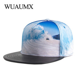 Wuaumx PU Brim Bone Snapback Cap For Men Women Waves Print Hip Hop Dancer  Hat Fitted Baseball Caps Flat peak Hat casquette a2850aa9543