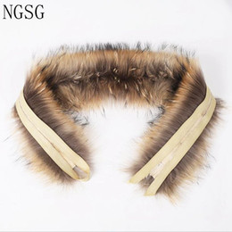 Chinese  NGSG 55cm Real Fur Raccoon Collar For Coat Hooded Natural Raccoon Hat Collar Winter Warm Fur Scarf Genuine Fox Scarves 90122 manufacturers