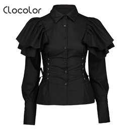 Clocolor Women Black Gothic Blouse Shirts Long Sleeve Slim Lace Up Ruffle  Tops Fashion Lady Elegant Turn-Down Collar Shirts 04ee9c87a133