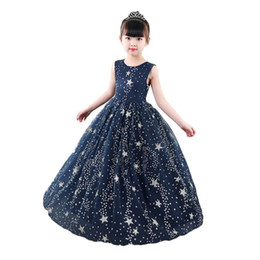 e5efbba5bad Kids Girl Dress Fashion Outfits Starry Sky Formal Prom Dress Sleeveless  Star Evening Gown Party Wedding Princess Long Dresses KA827