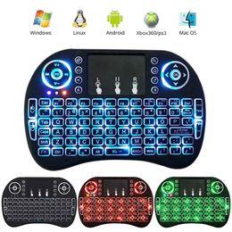 Опт Мини i8 клавиатура с подсветкой 2.4 G беспроводная Fly Air Mouse аккумуляторная с подсветкой сенсорная панель пульта дистанционного управления для MXQ pro TV Box DHL
