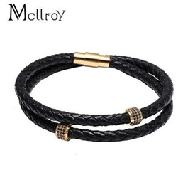 magnetic flag UK - Mcllroy Mens Bracelets Stainless Steel Black Leather Bracelet Wristband Bangle Punk Style Fashion Jewlery Magnetic Clasp