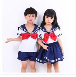 Blue Suit Halloween Australia - Kids Blue Cute Short Sleeves Boy Girl School Uniform Sailor Suit Halloween Cosplay Costume colthes PS080